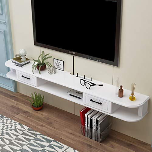 Wall-Mounted TV Cabinet with Drawer Wall Shelf Floating Shelf Set Top Box Router DVD Player Photo Toy Storage Shelf TV Console Audio and Video Shelf (Size : 140cm)