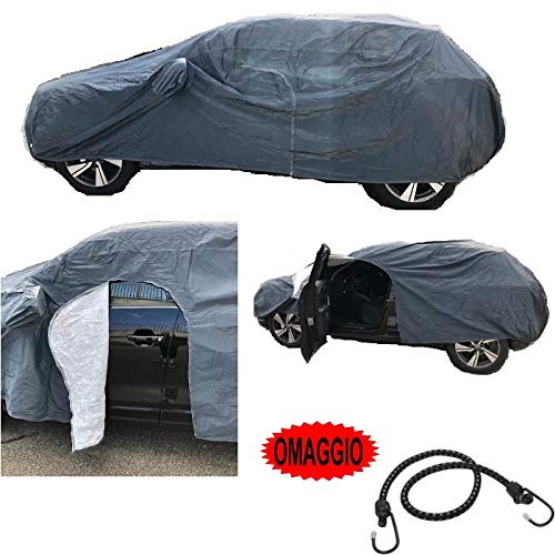 Funda para coche con cremallera lateral - Compatible con porches Panamera 4 E-Hybrid Sport Turismo - afelpada - Impermeable - Antiheladas - Resistente a los arañazos - Talla XXL 572 x 215 x 150 cm