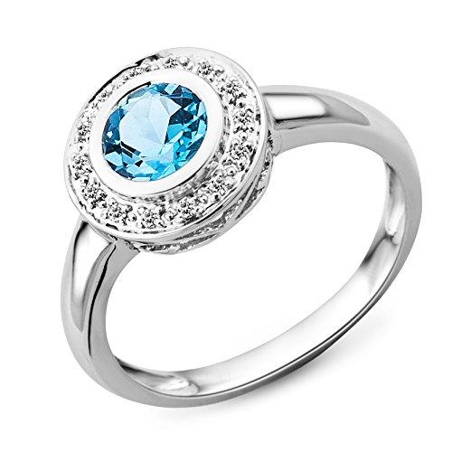 Miore Damen-Ring 585 Weißgold mit Blau Topas und 14 Brillanten 0,07ct MG4003RP