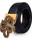Cinturón de cuero para hombre, con hebilla de trinquete automático con impresión animal en 3D, cinturón negro de diseño sin agujeros para vaqueros, en caja de regalo Dorado Aa Gold Boa Large