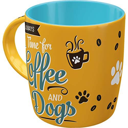 Nostalgic-Art Retro Kaffee-Becher - PfotenSchild - Coffee and Dogs, Große Lizenz-Tasse mit PfotenSchild-Motiv, Vintage Geschenk für Hunde-Fans, 330 ml