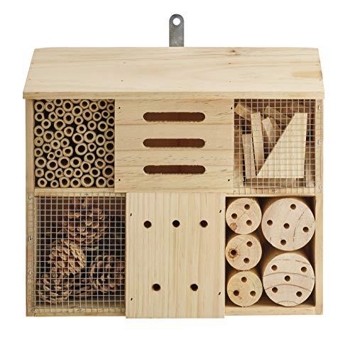 Eifa Insektenhotel Quadratisch 6 Kammern Holz/Nistkasten Natur 29 x 33 cm 6 Kammern Insektenhaus aus Holz für Bienen, Schmetterlinge, Käfer & andere Tiere