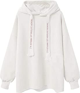 Women's Hoodie Solid Casual Long Sleeve Letter Print Hooded Fashion Sweatshirt Hoodies Hoodie f3e0wa (Color : White, Size : 5XL)