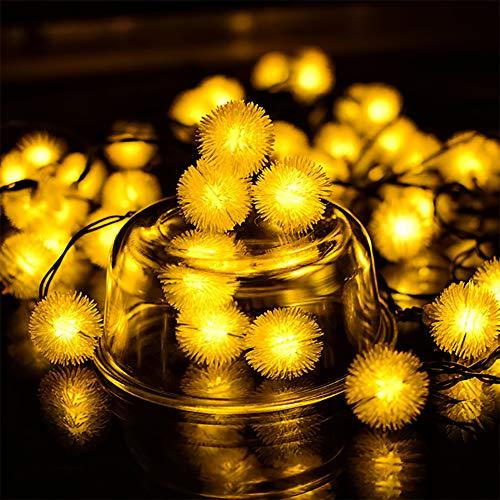 Lichtketting op zonne-energie, 20 ledbollen, 4,8 m, zachte kabel, verlichting, waterdicht IP65, solarlampen voor decoratie binnen en buiten, tuin, dennenboom, Kerstmis, party, enz.