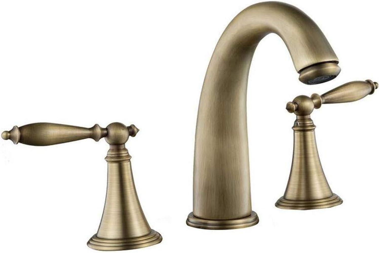 Brass Chrome Kitchen Antique Brass Bathroom Basin Fuacet Vintage Mixer Tap Three Holes Dual Handle Faucet