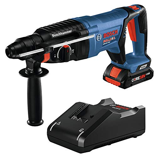 Bosch GBH18V-26DK15-RT 18V EC Brushless Lithium-Ion SDS-Plus Bulldog 1 in. Cordless Rotary Hammer Kit (4 Ah) (Renewed)