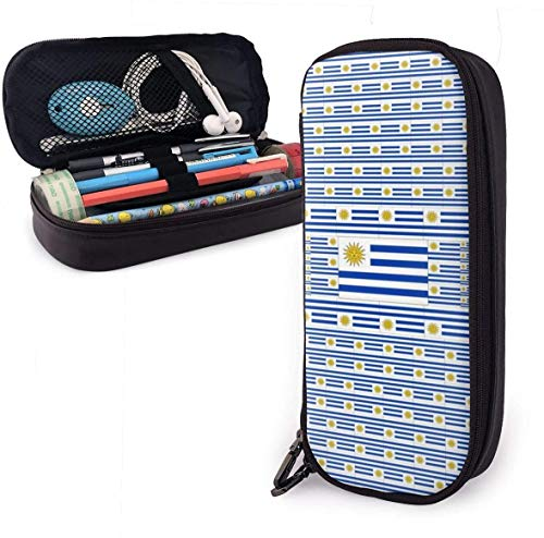 Astucci Uruguay Flag Pencil Case Pen Case Pencil Pouch Stationery Organizer Multifunction Cosmetic Makeup Bag Double Zipper Leather