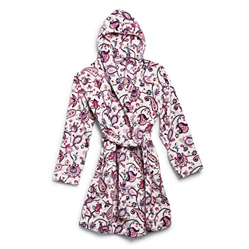 Vera Bradley womens Plush Fleece Robe Loungewear, Felicity Paisley Pink, Large to Extra-Large US
