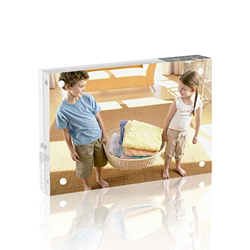 WEIYIKANG Acryl Bilderrahmen Transparenten Magnet Fotorahmen montiert doppelseitigen Bilderrahmen frei stehenden Desktop 10 x 15 cm