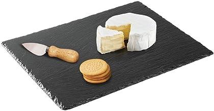 "Beautiful Black Slate Stone Cheese Board Serving Platter w// Chalk ~12/""x16/"""