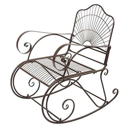 QILIYING Salones de Chaise Silla de Hierro Silla de Hierro Silla Mecedora Individual Oscuro Jardín marrón o Silla de Estar Silla Chaise Lounge by