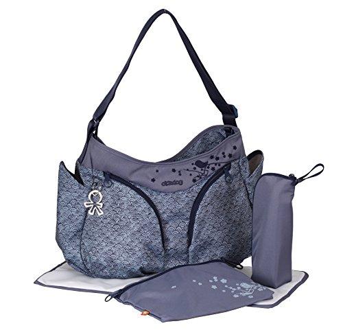 okiedog MONDO leichte geräumige Wickeltasche mit Schultergurt, viele Fächer, inkl. CLIPIX Kinderwagenhaken, Wickelunterlage, isolierter Flaschenhalter und Zubehörbeutel, ca. 49 x 32 x 19 cm (Sakawa blau)