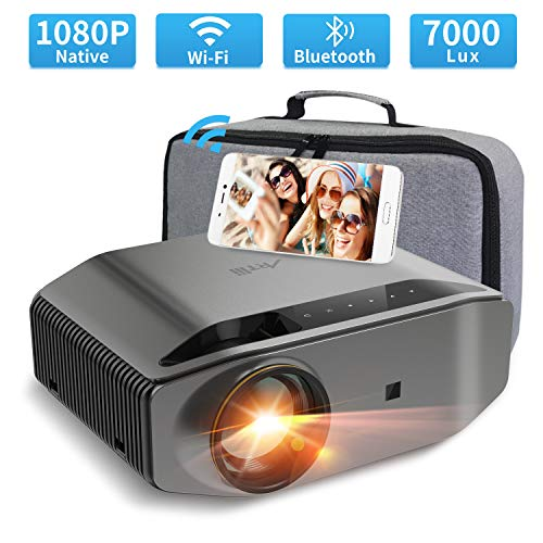 """1080P Projector - Artlii Energon 2 Full HD WiFi Bluetooth Projector Support 4K, 7000L 300"""" Display, Compatible with TV Stick, HDMI, iPhone, Android for Home Theater, PPT Presentation"""