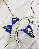 JWFK Traje de baño Bikini Top Mujer Bikini con Estampado de Cuello Colgante y Traje de baño de Leopardo Sexy triángulo Bolso de baño-Azul L
