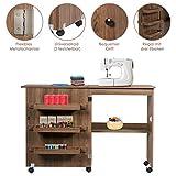 RELAX4LIFE Faltbarer Nähtisch auf Rollen, Nähmaschinenschrank aus Holz, Nähschrank, Mehrzwecktisch, ideal für Wohnzimmer, Schlafzimmer und Arbeitszimmer (Braun) - 5