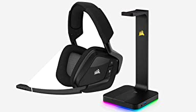 CORSAIR VOID PRO RGB Wireless Gaming Headset - Dolby 7.1 Surround Sound for PC - Discord Certified - Carbon + RGB Headset Stand