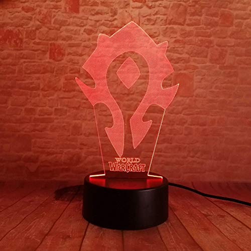 Lampara LED World of Warcraft Horda Cambia Color USB Luz Nocturna