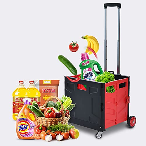 FVIWSJ Carrito Compra con 4 Ruedas y Asas Aluminio,55l,Carrito Compras Plegable para comestibles,carros Servicios públicos,Carrito Compras portátil,97cm