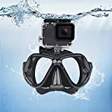 QKOO Swimming Mask Tempered Glasses Diving Mask for Gopro Hero 9 8 MAX 7 6 5 Yi 4K SJ4000 H9 Camera Scuba Snorkel Mask for Gopro Accessory -Black