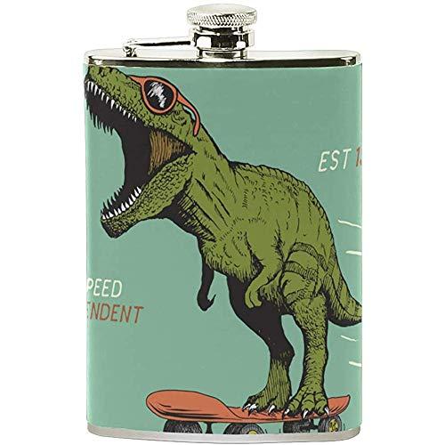 Weinkännchen Aus Edelstahl Mit Skateboard-Dinosaurier-Aufdruck Zum Speichern Von Whisky-Alkohol 7OZ