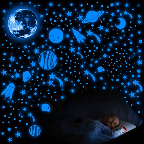756 Pieces Glow in The Dark Wall Stickers Luminous Moon Planet Spaceship Wall Decals Fluorescent Star Ceiling Stickers for Home Bedroom Kids Room Party Wall Decorations (Fluo Blue)