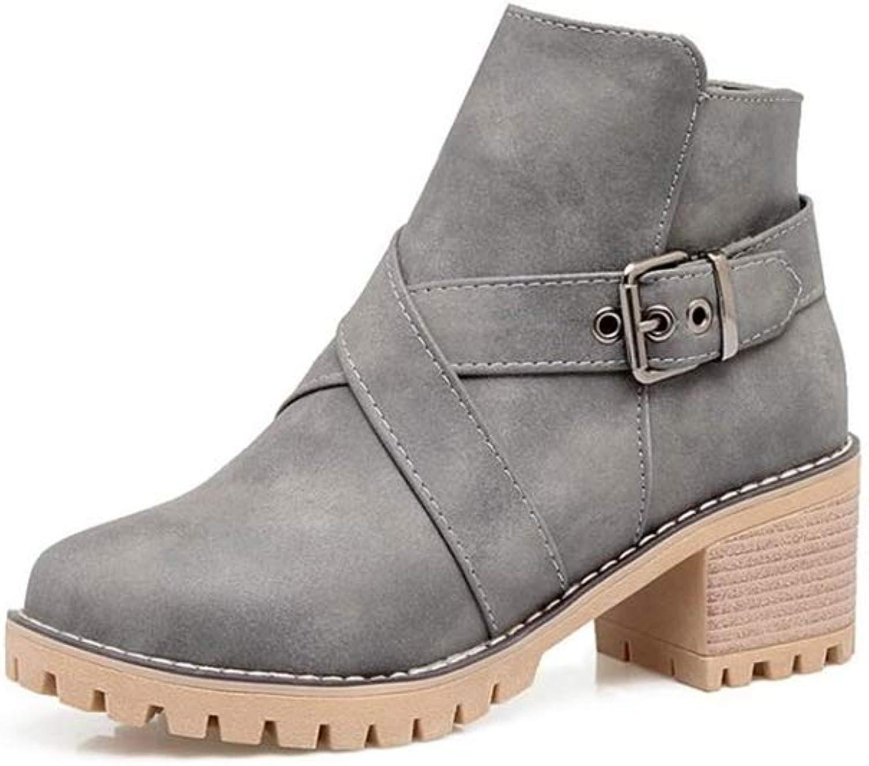pink town Women's Vintage Low Heel Waterproof Boot