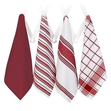 All-Clad Professional Grade Lint Free, Streak Free Oversized Luxury Cotton Towel Set, 4-Piece, Chili Red