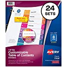 Avery 8-Tab Dividers for 3 Ring Binders, Customizable Table of Contents, Multicolor Tabs, 24 Sets (11168)