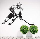 Adesivo murale Giocatore di Hockey Sportivo Vinile Decorazione della casa Decalcomania del Vinile murale Rimovibile 91X63cm