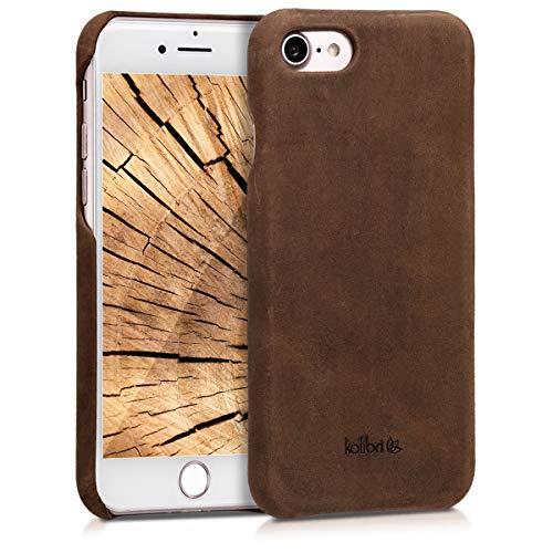 kalibri Hülle kompatibel mit Apple iPhone 7/8 / SE (2020) - Leder Handy Cover Hülle - Hardcover Schutzhülle Braun
