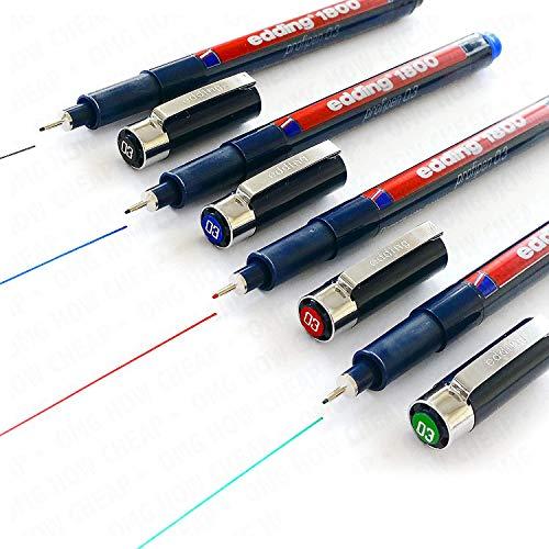 Rotulador para dibujo Edding 1800 Profipen, 0,3 mm, juego de 4, color negro, azul, rojo y verde