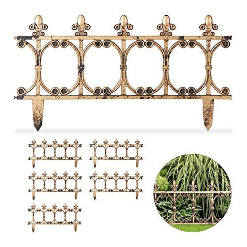 Relaxdays 6-delige tuinhek antiek, decoratief insteekhek voor tuin, vintage design, grondpennen, h: 24 cm, koperlook