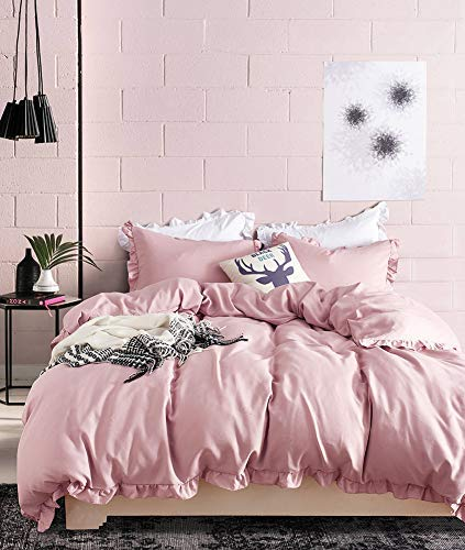 Boqingzhu 3 Pcs Plain Dusky Pink Duvet Cover Double for Girls Teenagers Womens Ruffle Bedding Sets Microfiber Double Bed with 2 Pillowcases and Zipper Closure Corner Ties