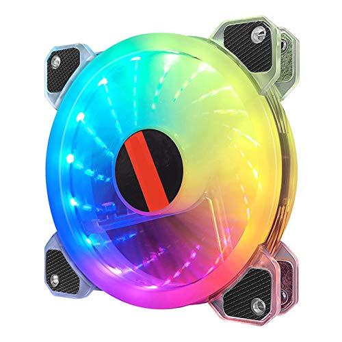 LEERAIN Ventilador de carcasa RGB de 120 mm con carcasa RGB muy silenciosa y mando a distancia, velocidad ajustable y enfriador brillante.