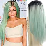 AISI HAIR Synthetic Wigs Long Straight Ombre Cosplay Costume Wig Heat Resistant Fiber Mint Green Black Roots Full Wigs for Woman