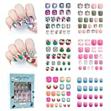 136pcs Fake nails for kids Easy Press on cute unicorn and plants artificial...