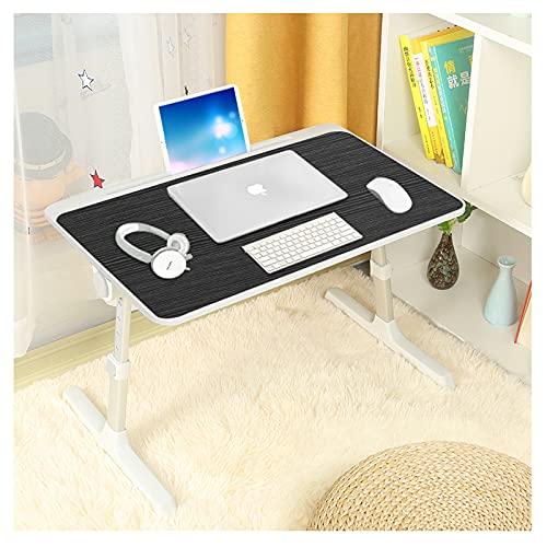 Mesa de cama para ordenador portátil, altura y ángulo, ajustable, bandeja de desayuno portátil, plegable, bandeja de desayuno para sofá, cama, terraza, balcón, jardín, oficina, 60 x 40 cm (negro)