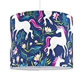 Self Assembly Small Multi Coloured Unicorn Design Polycotton Cylinder Rolla Ceiling Pendant/Table Lamp Drum Light Shade