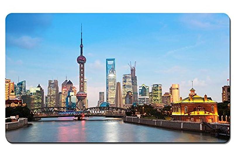 安いですラショナルストライク夕方には美しい上海シティビュー パターンカスタムの マウスパッド デスクマット 大 (60cmx35cm)