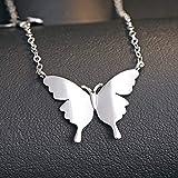 Boenxuan Elegant Doppel Schmetterlinge Damen Halskette 925 Sterling Silber Anhänger Collier Verstellbare Kette, Anhänger (Keine Kette),Silber