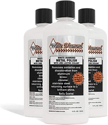 White Diamond Metal Polish - Perfect for Stainless Steel, Brass, Aluminum, Chrome, Gold, Silver - Multi-Purpose Cleaner, Sealant, & Rust Remover/Preventer for Cars, Jewelry, Boats & More - 2 Bottles