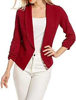 Women's Cardigan Work Office Suit 3/4 Sleeve Blazer Open Front Short Jacket