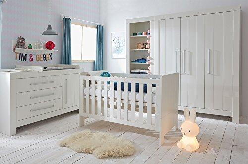 Babyzimmer Kinderzimmer komplett Cannes weiß MDF Set C Bett 140x70 Schrank 3 tür. Breite Kommode Wandregal weiß oder grau