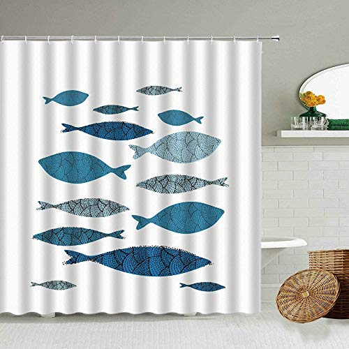 XCBN Cortina de Ducha con diseño de pez Divertido de Dibujos Animados, Cortina de baño de Estilo nórdico mediterráneo, Cortinas de Tela Impermeables Opacas A1 150x180cm