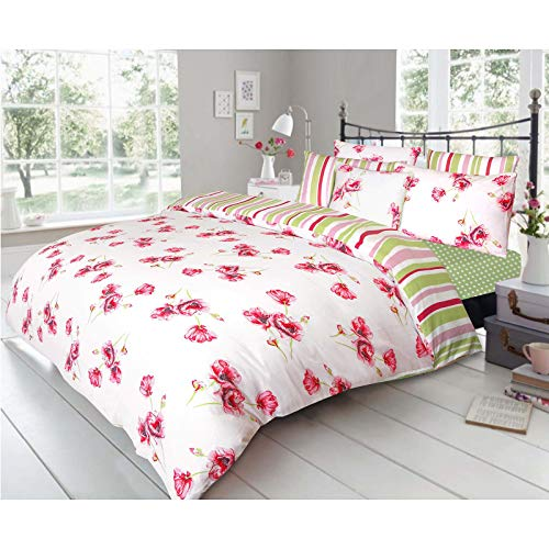 Nimsay Home Floral Poppy Duvet Cover Set 100% Cotton Katy Bed Linen Easy Care Reversible Stripe Quilt with Pillowcases White/Red/Green - King Size