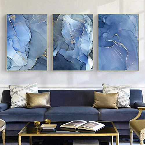 """Lienzo de arte de pared dorado con textura de mármol azul, carteles e impresiones abstractos modernos, cuadros de pintura nórdica, decoración del hogar, 40x60cm / 15.7 """"x23.6"""" x3 Sin marco"""