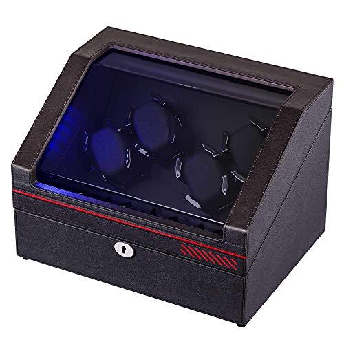 ワインディングマシーン腕時計自動巻き器ウォッチワインダー4本巻き上げ, 4本収納, マブチモーター使用ワインディングマシン合皮ダークコーヒーの色…