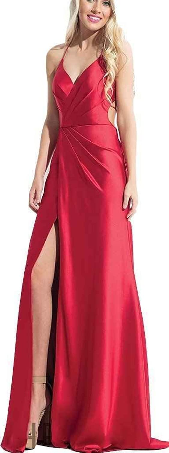 Ruisha Women Spaghetti Straps Satin A Line Prom Dresses Long Split Side Backless