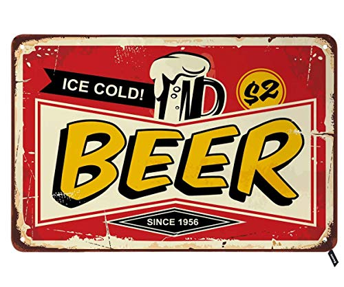 Swono Bar Tin Signs,Comic Style Retro Poster Design with Ice Cold Beer Mug on Red Background Vintage Metal Tin Sign for Men Women,Wall Decor for Bars,Restaurants,Cafes Pubs,12x8 Inch