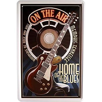 Cartel de Chapa de música Guitarra Home of The Blues 20 x 30 cm ...